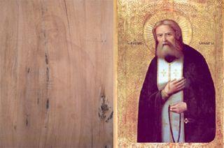 Слева – необычное изображение, проявившееся на обструганной иконной доске. Справа – примерно такое иконописное изображение Батюшки Серафима было на старинной иконе